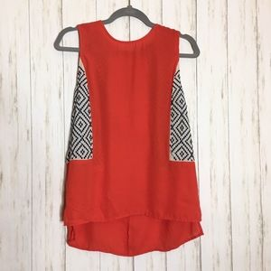 Anthropologie THML Coral Aztec Zipper Back Blouse